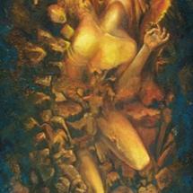 "Elemental Man — Oil and bee wax on linen — 24"" x 72"" — 1999 — $6,000 Man"