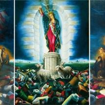 """La Nina, La Gringa & La Santa Maria — Oil on linen — 84"""" x 48"""" — 1997 — $21,000"""